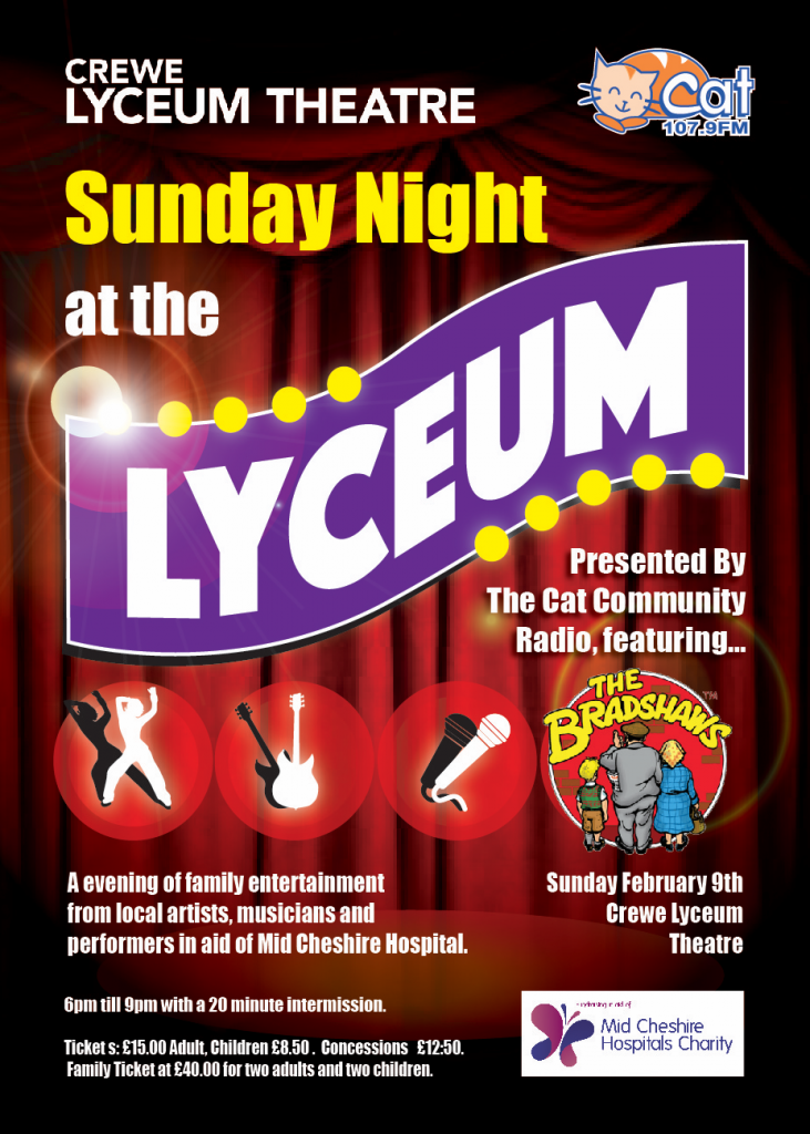 A5 flyer for Sunday Night at The Lyceum.
