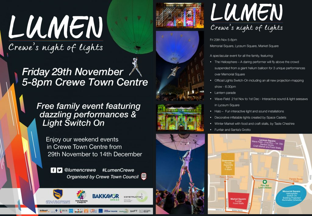 Flyer for Lumen, Crewe's Night of Light 29/11/19